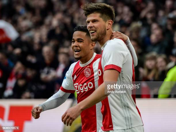 AJAX players Justin Kluivert and KlaasJan Huntelaar fcelebrate a goal during the Eredivisie match between AJAX Amsterdam and Feyenoord on January 21...