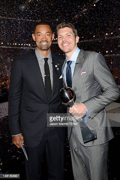 NBA players Juwan Howard and Mike Miller of the Miami Heat winners of the Best Team Award pose onstage during the 2012 ESPY Awards at Nokia Theatre...