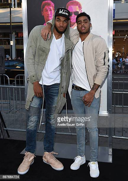NBA players KarlAnthony Towns and D'Angelo Russell arrive at the premiere of Warner Bros Pictures' 'War Dogs' at TCL Chinese Theatre on August 15...