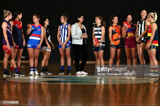 AFLW players Kellie Gibson Meg Downie Ellie Blackburn Madison Prespakis Jasmine Garner along with AFLW head of football Nicole Livingstone Nina...