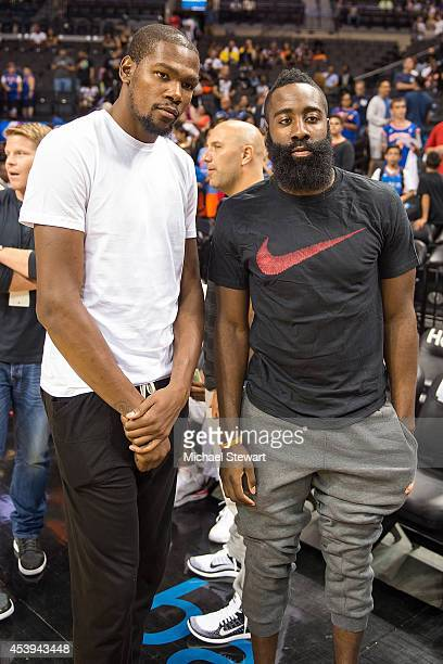 NBA players Kevin Durant and James Harden attend the 2014 Summer Classic Charity Basketball Game at Barclays Center on August 21 2014 in New York City