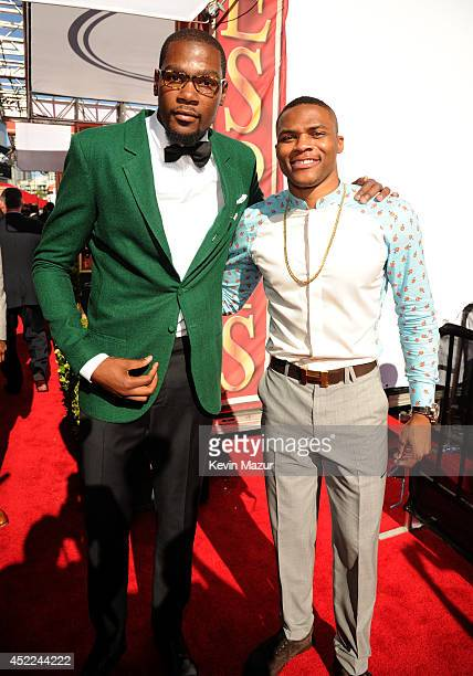 NBA players Kevin Durant and Russell Westbrook attend The 2014 ESPY Awards at Nokia Theatre LA Live on July 16 2014 in Los Angeles California