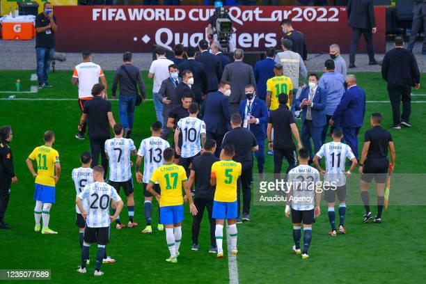 Players leave the area after the World Cup Qualifier game between Brazil and Argentina at Arena Corinthians on September 05, 2021 in Sao Paulo,...