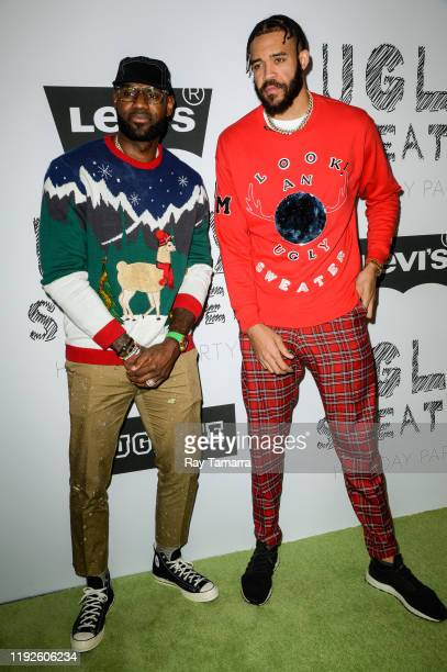 NBA players LeBron James and JaVale McGee attend the 2nd Annual Juglife Ugly Sweater Holiday Party at Levi's Haus on December 07 2019 in Los Angeles...