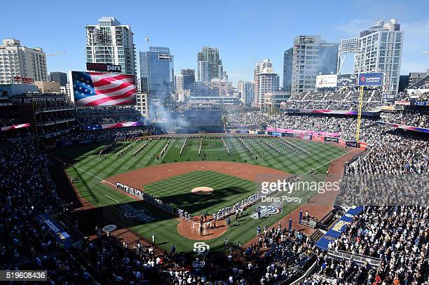 Players line the field during pregame festivities on Opening Day before a baseball game between the San Diego Padres and the Los Angeles Dodgers at...