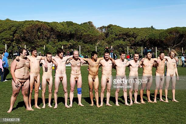Players line up ahead of a nude rugby match between the Nude Blacks and Spanish Conquistadors at Dunedin Rugby Club Kettle Park on September 10 2011...