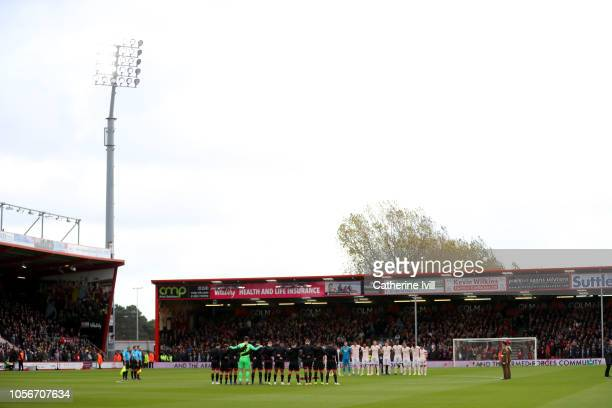 Players line up around the centre circle for a minute's silence ahead of Armistice day prior to the Premier League match between AFC Bournemouth and...