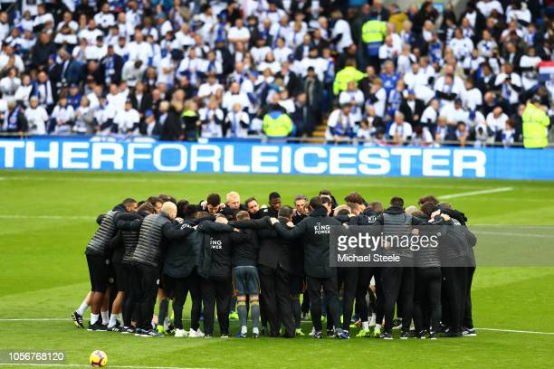 Players line up around the centre circle for a minute's silence for Vichai Srivaddhanaprabha and Armistice day prior to the Premier League match...