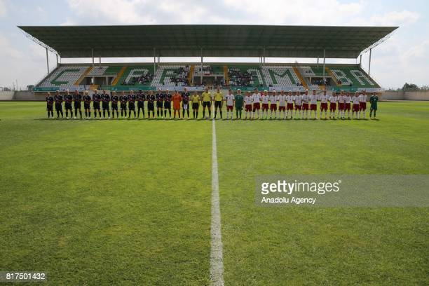 Players line up before a football match between Poland and Great Britain at Carsamba District Stadium during the 23rd Summer Deaflympics 2017 in...