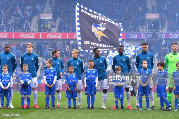 Players line up before the Jupiler Pro League match between KRC Genk and Club Brugge KV on March 01, 2020 in Genk, Belgium, 1/03/2020