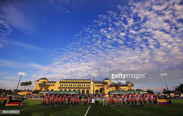 Players line up before the match between the Bayer Leverkusen and Indepediente Santa Fe at the ESPN Wide World of Sports Complex on January 10 2016...