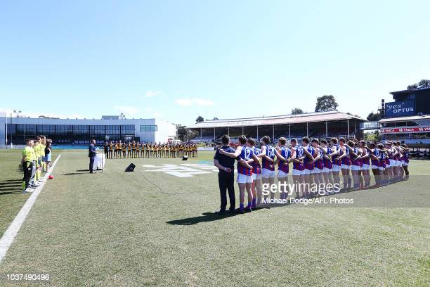 Players line up during the 2018 TAC Cup Grand Final match between Dandenong and Oakleigh at Ikon Park on September 22 2018 in Melbourne Australia
