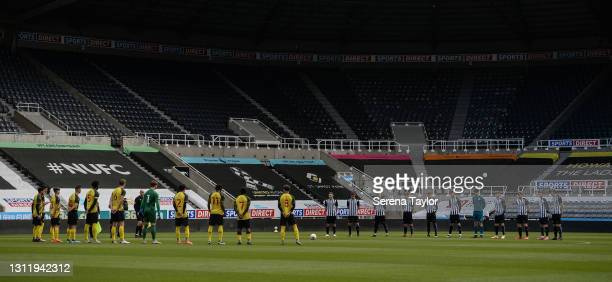 Players line up for a minutes silence during the fifth round of the FA Youth Cup between Newcastle United and Watford FC at St James' Park on April...
