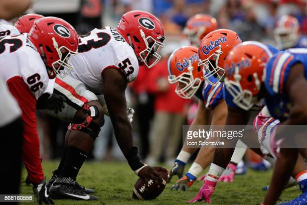 Players line up for a play during the game between the Georgia Bulldogs and the Florida Gators on October 28 2017 at EverBank Field in Jacksonville Fl