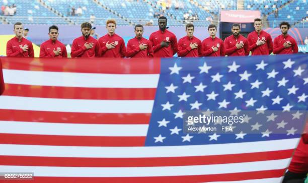USA players line up for the national anthem during the FIFA U20 World Cup Korea Republic 2017 group F match between USA and Saudi Arabia at Daejeon...
