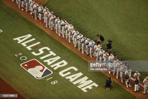 Players line up for the national anthem prior the 89th MLB AllStar Game presented by Mastercard at Nationals Park on July 17 2018 in Washington DC