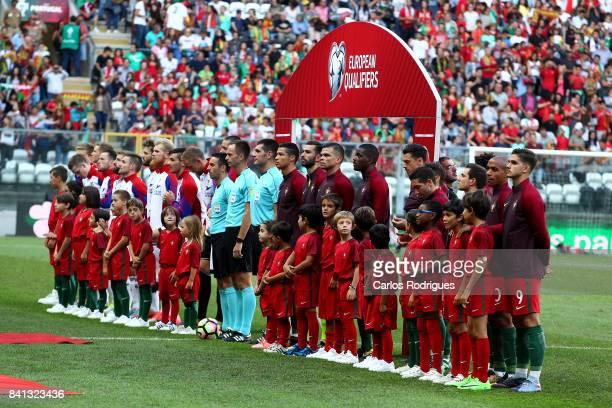 Players line up for the National anthems during the match between Portugal v Faroe Islands FIFA 2018 World Cup Qualifier match at Estadio do Bessa on...