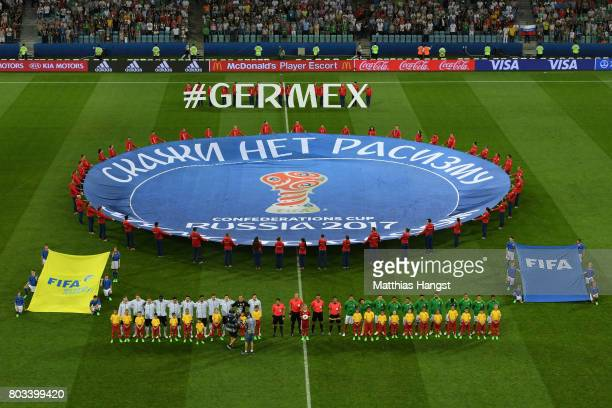 Players line up for the national anthems prior to the FIFA Confederations Cup Russia 2017 SemiFinal between Germany and Mexico at Fisht Olympic...