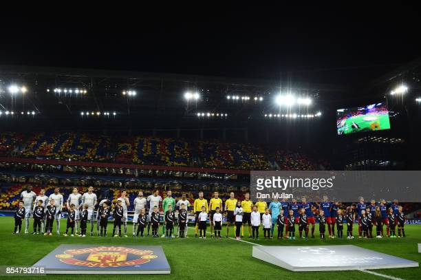 Players line up on the pitch prior to the UEFA Champions League group A match between CSKA Moskva and Manchester United at WEB Arena on September 27...