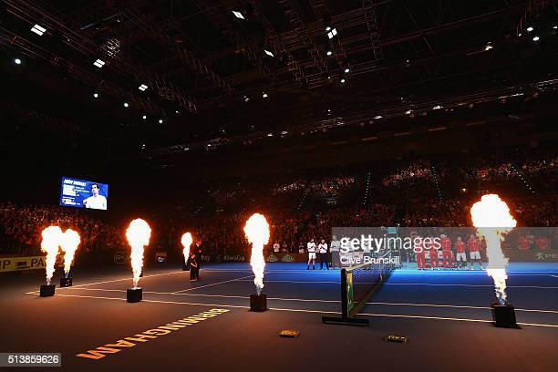 Players line up prior to day two of the Davis Cup World Group 1st round match between Great Britain and Japan at Barclaycard Arena on March 5 2016 in...