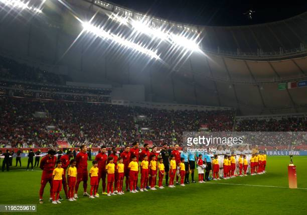 Players line up prior to the FIFA Club World Cup Qatar 2019 Final between Liverpool FC and CR Flamengo at Education City Stadium on December 21 2019...