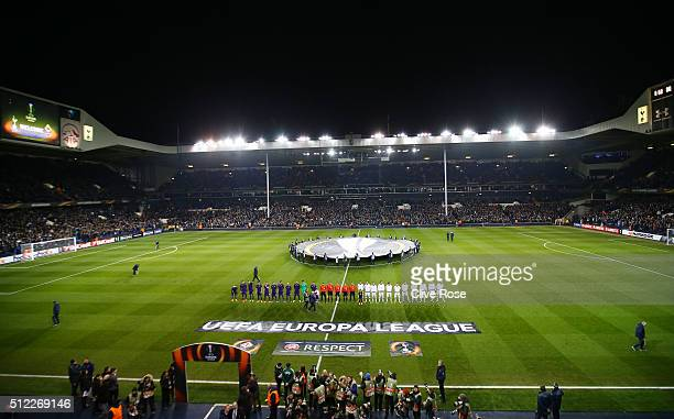 Players line up prior to the UEFA Europa League round of 32 second leg match between Tottenham Hotspur and Fiorentina at White Hart Lane on February...