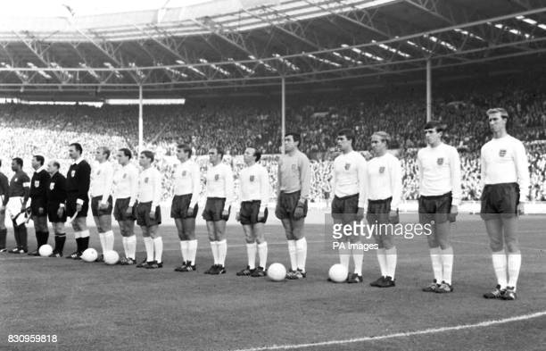 Players lined up on the field at Wembley Stadium London before the start of the World Cup semifinal between England and Portugal won by England 21...