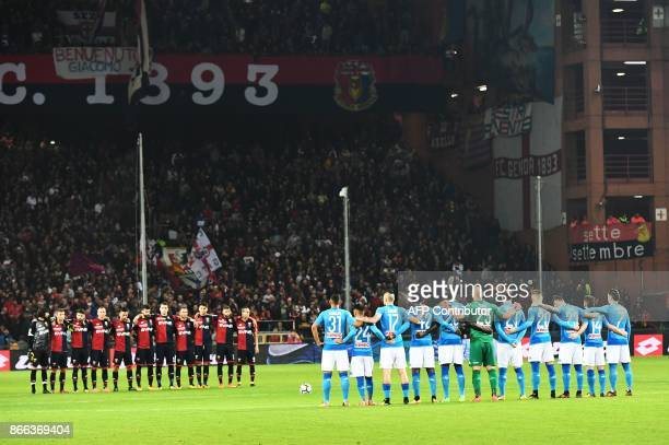 Players listen to a speaker reading a passage from the diary of holocaust victim Anne Frank before the Italian Serie A football match Genoa vs Napoli...