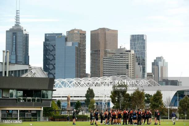 Players listen to instructionsduring a Greater Western Sydney Giants AFL training session at Holden Centre on August 05, 2021 in Melbourne, Australia.