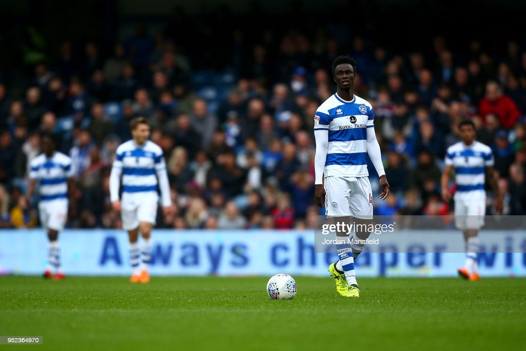 QPR players look dejected after conceeding Birmingham's first goal during the Sky Bet Championship match between Queens Park Rangers and Birmingham City at Loftus Road on April 28, 2018 in London, England.