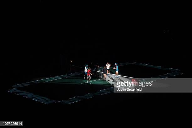 Players look on ahead of the Men's Doubles Final during Day Seven of the Rolex Paris Masters on November 4 2018 in Paris France
