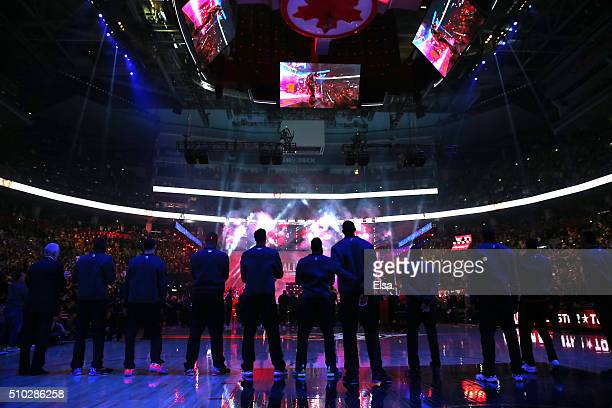 Players look on during introductions during the NBA All-Star Game 2016 at the Air Canada Centre on February 14, 2016 in Toronto, Ontario. NOTE TO...