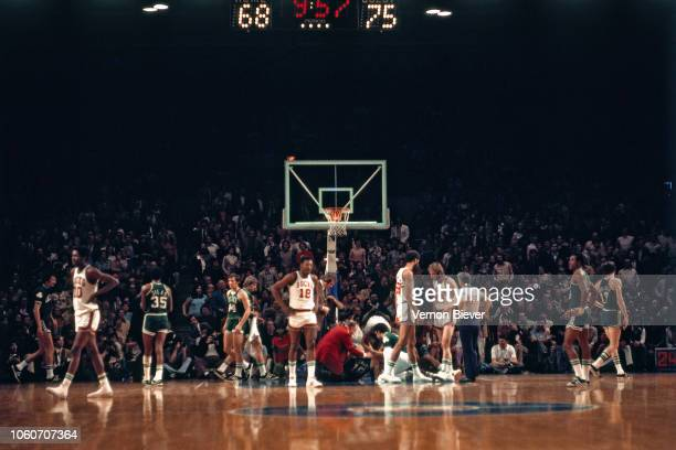 Players look on during the 1974 NBA Finals played circa 1974 at Milwaukee Arena in Milwaukee, Wisconsin. The Boston Celtics defeated the Milwaukee...