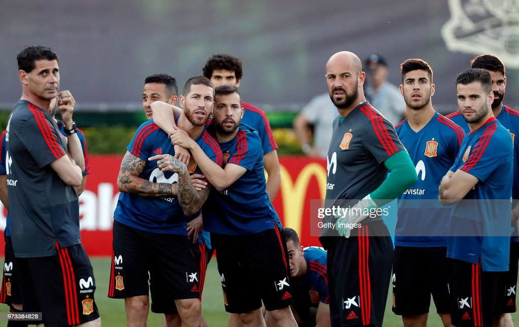 Players look on during the Spain Training Session ahead of the FIFA World Cup Russia 2018 on June 13, 2018 in Krasnodar, Russia.