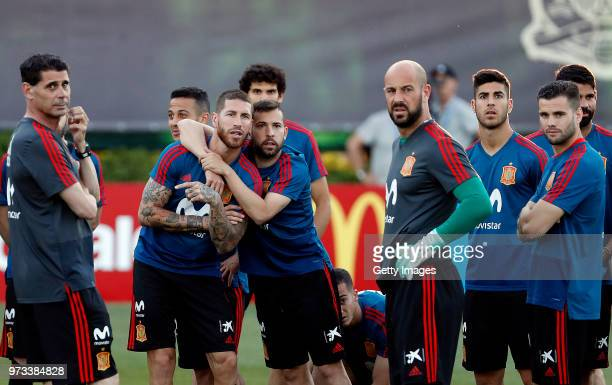 Players look on during the Spain Training Session ahead of the FIFA World Cup Russia 2018 on June 13 2018 in Krasnodar Russia