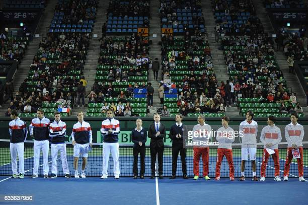 Players looks on before the Davis Cup by BNP Paribas first round singles match between Japan and France at Ariake Colosseum on February 3 2017 in...