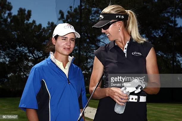 LPGA players Lorena Ochoa of Mexico and Jill McGill of the USA speak during Fortune Magazine Clinic at the LPGA Samsung World Championship on...