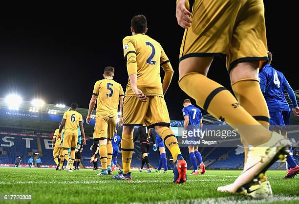 Players make their way out onto the pitch prior to the Premier League 2 match between Leicester City and Tottenham Hotspur at The King Power Stadium...
