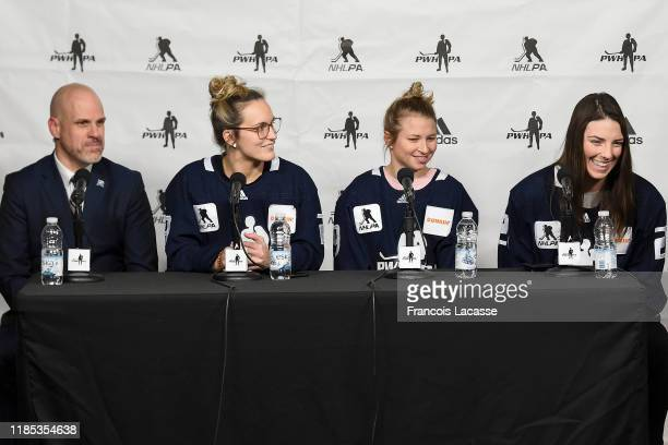 PWHPA players MariePhilip Poulin AnnSophie Bettez Hilary Knight and Mark Weightman vice president of development and operations of Place Bell and the...