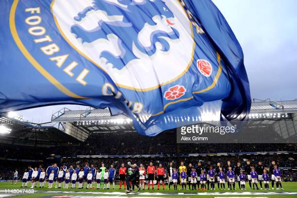 Players mascots and officials line up prior to the UEFA Europa League Semi Final Second Leg match between Chelsea and Eintracht Frankfurt at Stamford...