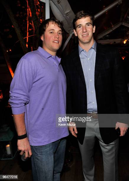 Players Matthew Stafford and Eli Manning attend the Super Bowl Party hosted by Creative Artists Agency at the W Hotel South Beach on February 6 2010...