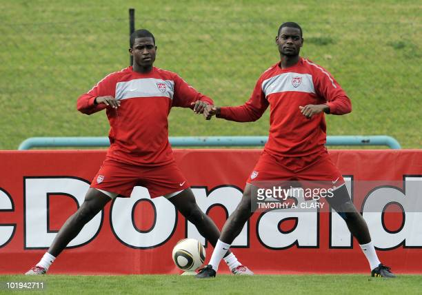 US players Maurice Edu and Edson Buddle take part in a team training session at Pilditch Stadium in Pretoria on June 10 2010 in preparation for the...