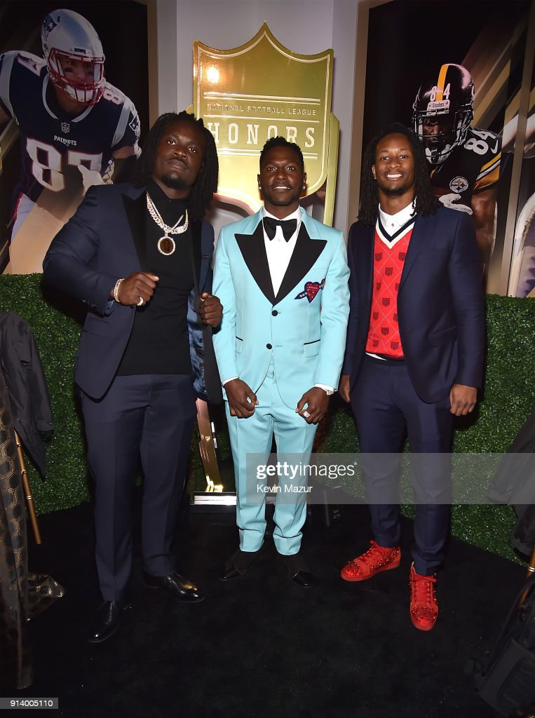 Players Melvin Ingram, Antonio Brown and Todd Gurley attend the NFL Honors at University of Minnesota on February 3, 2018 in Minneapolis, Minnesota.