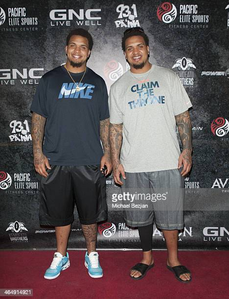 Players Mike Pouncey and Maurkice Pouncey attend the Pacific Elite Sports Fitness Center Grand Opening on January 24 2014 in Kaneohe Hawaii