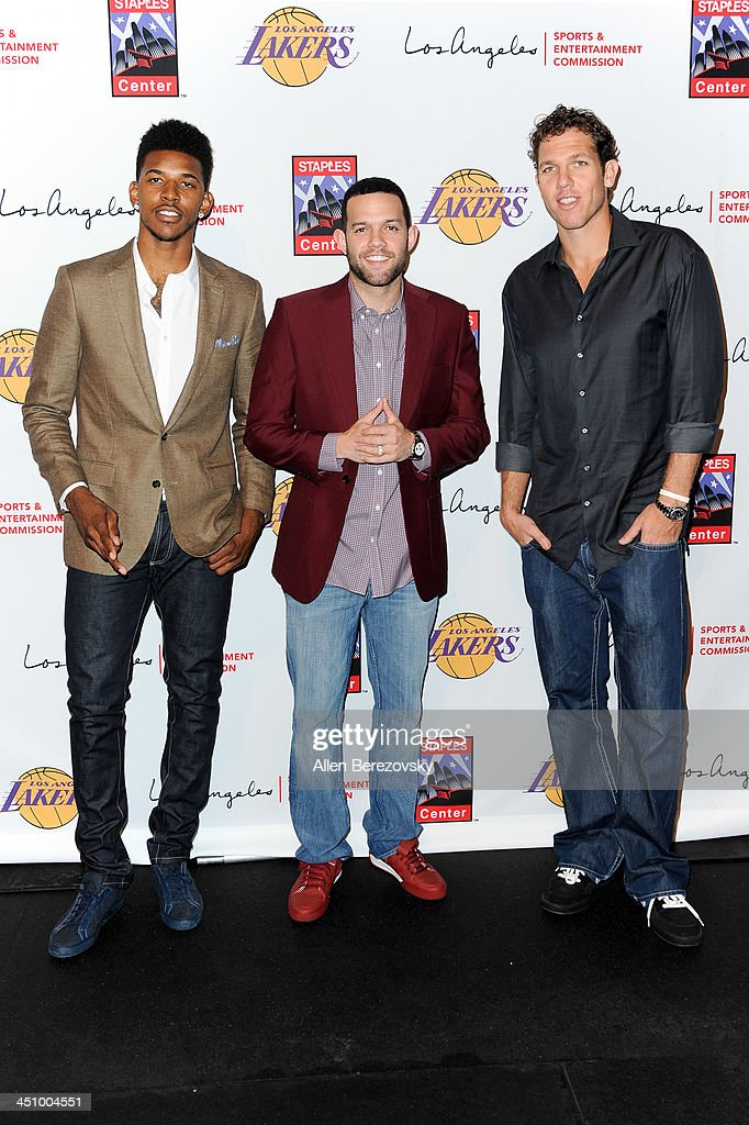 NBA players Nick Young, Jordan Farmar and Luke Walton attend the Los Angeles Sports and Entertainment Commission's 10th annual Lakers All-Access event at Staples Center on November 20, 2013 in Los Angeles, California.