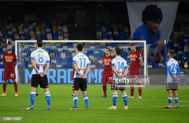 Players observe a minutes silence for former footballer, Diego Maradona, who recently passed away prior to during the Serie A match between SSC...