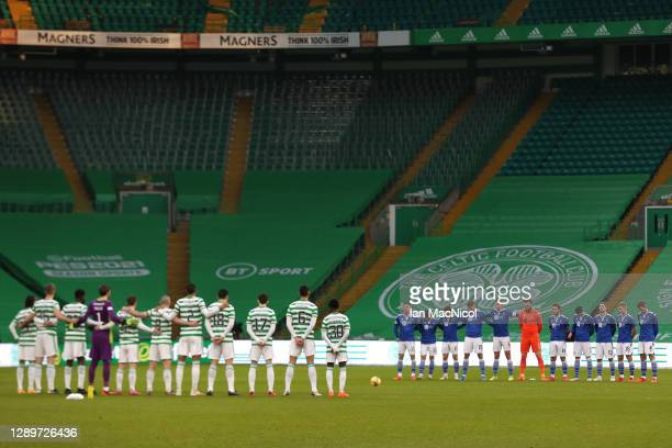 Players observe a minutes silence for former footballer, Diego Maradona, who recently passed away prior to the Ladbrokes Scottish Premiership match...