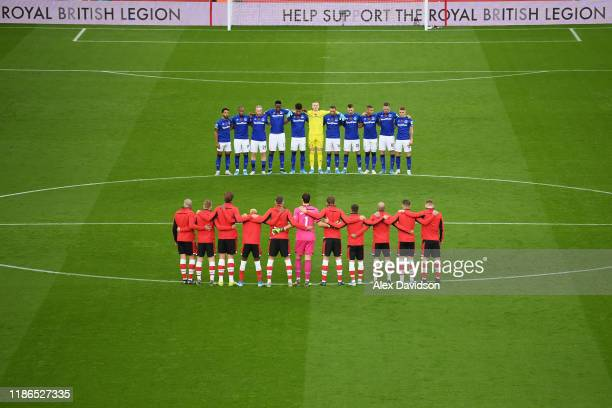 Players observe a minutes silence in honour of Remembrance Day prior to the Premier League match between Southampton FC and Everton FC at St Mary's...