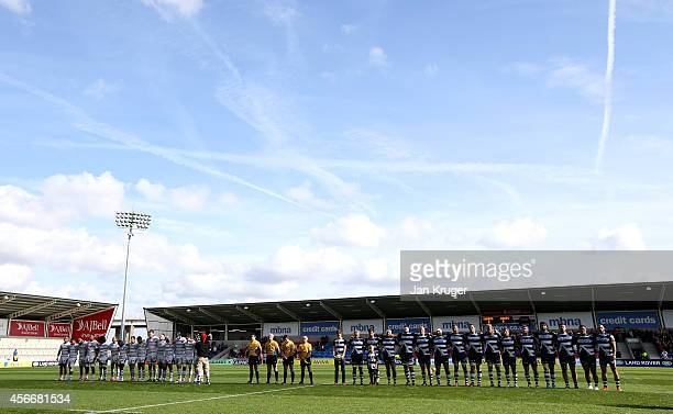 Players observe one minutes silence in memory of Alan Henning prior to the Aviva Premiership match between Sale Sharks and Wasps at AJ Bell Stadium...