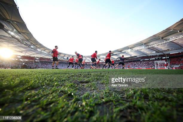 Players of 1. FC Union Berlin warm up prior the Bundesliga playoff first leg match between VfB Stuttgart and 1. FC Union Berlin at Mercedes-Benz...